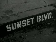 Movie title and typography from the film noir 'Sunset Blvd.' directed by Billy Wilder, starring William Holden, Gloria Swanson, Erich von Stroheim Palm Springs, Sunset Boulevard, Erich Von Stroheim, Art Of The Title, Billy Wilder, Blu Ray Movies, Dark City, Title Sequence, Title Card
