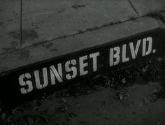 Movie title and typography from the film noir 'Sunset Blvd.' directed by Billy Wilder, starring William Holden, Gloria Swanson, Erich von Stroheim Sunset Boulevard, Erich Von Stroheim, Art Of The Title, Billy Wilder, Blu Ray Movies, Dark City, Title Sequence, Title Card, Movie Titles