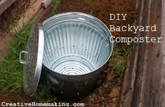 I'm really excited about the compost bin I made from a galvanized metal trash can. Rust proof, odor proof, and rodent proof! Can't wait to try it out. You can make one of these in less than an hour.