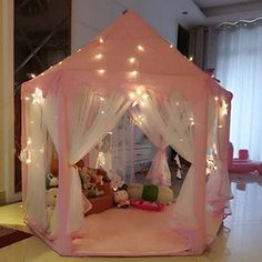 AuTop Large Indoor and Outdoor Kids Play House Pink Hexagon Princess Castle Kids Play Tent Child Play Tent. AuTop kids play tent indoor princess castle, outdoor large playhouse with led lights, perfect outdoor child toys. Folding House, Folding Chair, Build A Playhouse, Castle Playhouse, Girls Playhouse, Indoor Playhouse, Kids Tents, Play Tents, Play Teepee