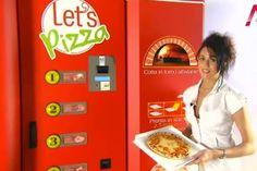 Pizza em cada esquina.  Alguns já devem ter visto na Europa estas máquinas mágicas que basta apertar um botão e pronto, sua pizza favorita em 3 minutos! Não é uma das melhores invenções do mundo? Rumores dizem que teremos a vending machine aqui no Brasil.. veeeem!