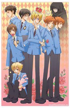 Ouran High School Host Club; Tamaki, Haruhi, Hikaru, Kaoru, Mori (Takashi), Honey (Mitsukuni), and Kyoya. Plus Nekozawa.