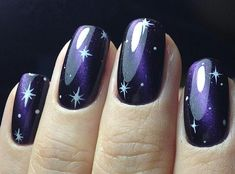 How To Do Easy Galaxy Nails Try It Now - Pretty can find Galaxy nails and more on our website.How To Do Easy Galaxy Nails Try It Now - Pretty 4 Cute Nails, Pretty Nails, Nail Art Designs, Nails Design, Cosmic Nails, Hair And Nails, My Nails, Galaxy Nail Art, Space Nails