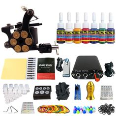 59.91$  Buy now - http://ali94h.shopchina.info/go.php?t=32797769410 - Solong Tattoo Complete Tattoo Kit Set Including Tattoo Machine Gun Inks Power Supply Needles Permanent Makeup for Liner&Shader  #buyonlinewebsite