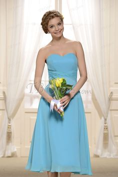 $ 72.99 Cheap Knee-Length Light Blue Bridesmaid Dress