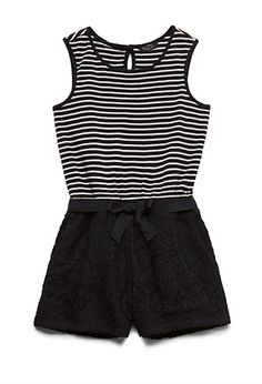 Striped Lace Romper (Kids) | FOREVER21 girls - 2000059909