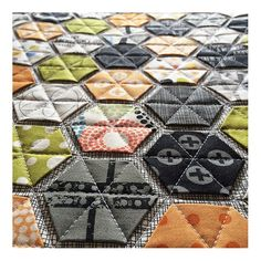 great hexagon surface with mini charms using the modernhandcraft technique. Made by Pam Jessup, Fabrics are Reel Time by Zen Chic