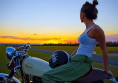 Girl enjoying the sunset with a gorgeous retro custom from Rocker Classic Motorcycles.  Check out their Cappuccino v Nancheng video full of awesome.