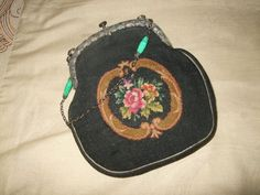 This handbag features a micro petit point tapestry body with a black background.and a lovely Floral Rose embroidered design. The back side is plain black fabric. The tapestry fabric is in excellent condition.no holes, no wear by the seams or frame.really nice! | eBay!