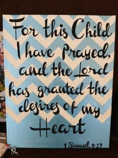 Custom For This Child I Have Prayed Canvas