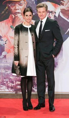 Colin Firth,Livia Giuggioli at Kingsman German premiere - love that coat!!!