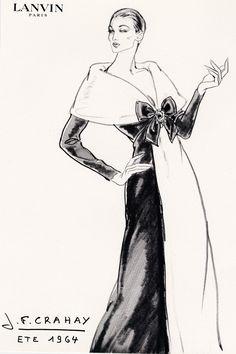 Esquisse et Croquis - Mode - Lanvin - 1964