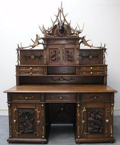 BLACK FOREST GERMAN ANTLER AND OAK KNEEHOLE DESK W.TOP: 1880 | eBay