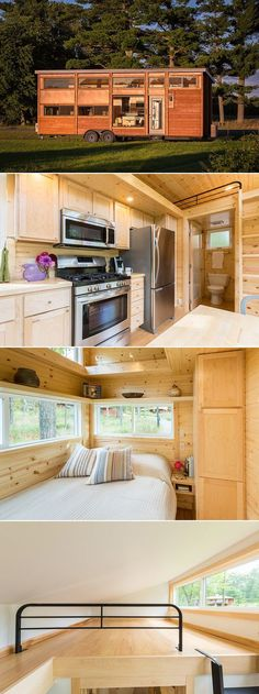 A 344 sq.ft. tiny house with a private first floor bedroom, two lofts, and a living room area with couch and entertainment center.