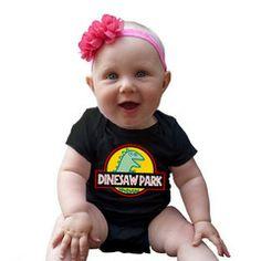 Dinesaw Park baby onesie, a Peppa Pig / Jurassic Park mashup.  #peppa #peppapig #jurassicpark #dinosaur #babyonesie #babyromper #babyfashion #babyclothing #infantonesie #infantromper #infantfashion #infantclothing