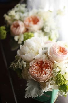 Dusty Miller is so nice! And Cabbage roses are a nice second pick instead of peonies.