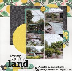 Pictures from the Living with the Land ride at Epcot in Walt Disney World. I used up bits and pieces from my march 2018 Hip Kit Club kit to create this layout. Scrapbook Sketches, Scrapbook Page Layouts, Scrapbooking Ideas, Disney Scrapbook, Scrapbook Cards, Hip Kit Club, American Crafts, Epcot, Disney Trips