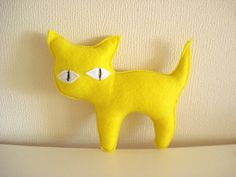 Yellow Kitty by cronopia6 on Etsy, $8.00