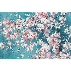 Portfolio Canvas Decor Into the Cherry Blossom Teal by Bridges Wrapped and Stretched Canvas Wall Art, Size: Medium 25 inch, Multicolor Large Canvas Wall Art, Canvas Art, Blue Canvas, Cherry Blossom Painting, Tree Sketches, Pink Wall Art, Botanical Wall Art, Blossom Trees, Cherry Blossoms