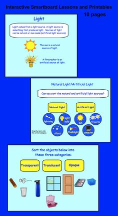 10 page Interactive Smartboard lessons and printables on Light