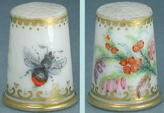 Rare Antique Hand Painted Porcelain Thimble w/ Bee & Flowers * English… Painted Porcelain, Hand Painted, Embroidery Tools, China Painting, Bee Happy, Sewing Tools, Sewing Accessories, Rare Antique, Pin Cushions