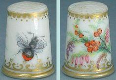 Rare Antique Hand Painted Porcelain Thimble w/ Bee & Flowers * English * C1870   eBay