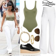 Kourtney Kardashian was spotted out in San Diego on Tuesday wearing a House of CB Luca Khaki Seamless Knit Stretch Bodysuit ($73.00), Cushnie Et Ochs High-Waist Stretch-Cady Pants ($895.00), Celine Mirror CL 41391 Aviator Sunglasses ($234.55), two Cartier Love Yellow Gold Bracelets ($6,300.00 – each), a Lili Claspe Lana Choker ($99.00) and Stella McCartney Platform Oxford Shoes ($995.00).