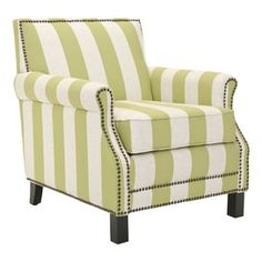 Alicia Club Chair- Love the preppy stripes with the stud detail