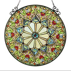 Chloe Lighting Sunny Tiffany Glass Floral Window Panel