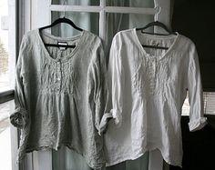 Winter lagenlook | Handmade Washed Linen ' Michèle ' Shirt / Lagenlook Clothing / Shabby ...