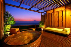 Outdoor Baths, Outdoor Pool, Japanese Hot Springs, Japanese Bath, Thai House, Ideal Bathrooms, Floor Murals, Relaxing Bath, Beautiful Hotels