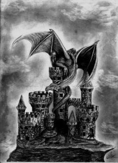 How to Draw a Dragon and Castle, Step by Step, Dragons, Draw a Dragon, Fantasy, FREE Online Drawing Tutorial, Added by DuskEyes969, October 24, 2013, 7:12:21 am