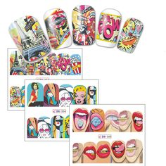 1Sheets Fashion Sticker Full Cover Lips Cute Style Water Transfer Tips Nail Art Decorations BN349-360