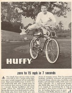 1959 Huffy Bicycle Zero to 15 mph in 7 Seconds Original Print Ad