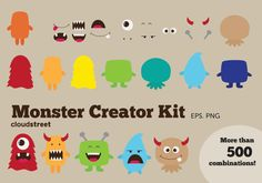 buy 2 get 1 free Cute Monsters Creator Kit clip by cloudstreetlab