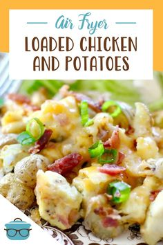 Air Fryer Loaded Chicken and Potatoes is a meal in one! Chicken, potatoes mixed with seasonings and topped with melted cheese and bacon!. Loaded Chicken And Potatoes, Best Chicken Recipes, Melted Cheese, Bacon, Meals, Meal, Yemek, Pork Belly, Food