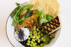 Forbidden Rice Bowl - grilled tofu, broccoli, edamame, kimchi, poached egg #Vegetarian #GlutenFree #Toronto #Restaurant #Food