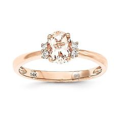 14k Rose Gold Oval Morganite & Diamond Ring – Sparkle & Jade
