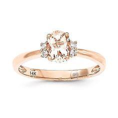 14k Rose Gold Oval Morganite & Diamond Ring – Sparkle & Jade