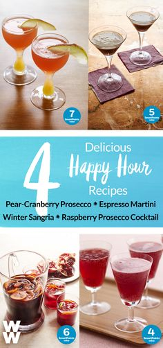You don't have to miss out on happy hour to stay on track for the big day. Get out there and celebrate with one of these 4 cocktail recipes:  Espresso Martini, Pear Cranberry Prosecco, Winter Sangria & Raspberry Prosecco. Tap to get all 4 recipes.
