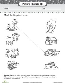 Rhyming worksheets encourage kids to develop phonemic awareness. Our rhyming worksheets feature fun activities for preschoolers and kindergarteners. Rhyming Worksheet, Printable Preschool Worksheets, Writing Worksheets, Kindergarten Worksheets, Worksheets For Kids, Free Printables, Summer Worksheets, Rhyming Preschool, Rhyming Activities