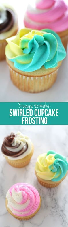 Learn my 3 ways to make swirled cupcake frosting with 2 or more colors. The second method doesn't even require a piping bag OR decorative piping tip. Cupcake Frosting Techniques, Cupcake Frosting Tips, Frosting Recipes, Cupcake Recipes, Baking Recipes, Dessert Recipes, Icing Techniques, Butter Frosting, Buttercream Frosting
