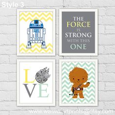BB-8 Chewie R2D2 vivero Decor. Star Wars Baby por waiwaiartprints