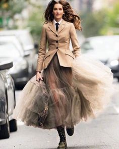 Josephine le Tutour wears a Dior Resort 2019 look designed by Maria Grazia Chiuri for the latest December issue of Elle Italia. Street Style Rock, Looks Street Style, Street Styles, Autumn Street Style, Look Fashion, Skirt Fashion, Fashion Dresses, Womens Fashion, Fashion Design