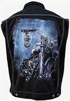 Lowbrow Art - Sacred Ride- Denim Vest #goth #gothic #punk #punkrock #rockabilly #psychobilly #pinup #inked #alternative #alternativefashion #fashion #altstyle #altfashion #clothing #clothes #vintage #noir #infectiousthreads #horrorpunk #horror #steampunk #zombies #burningmanclothing #lowbrow art clothing