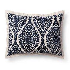 Blue Damask Linen Blend Printed Pillow Sham - Threshold™ : Target