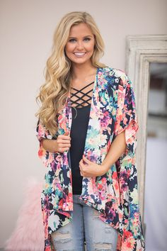 Set My Heart On Fire Floral Kimono - The Pink Lily
