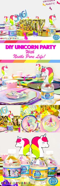 "Planning a spring party? Add some colorful and creative inspiration with this unique DIY unicorn theme, inspired by the new NESTLÉ® PURE LIFE® 8oz ""Share-a-Smile™"" Kid Designed Edition water bottles. Pretty balloons, table-top décor and DIY unicorn bottle toppers make any celebration one to remember. Find out how to take your soiree to the next level on Brite & Bubbly's blog."