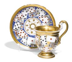 A PORCELAIN CABINET CUP AND SAUCER, BATENIN MANUFACTORY, ST PETERSBURG, 1815-CIRCA 1830