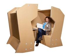 Cellulose Meeting Pod--cardboard furniture, nestled meeting and work space